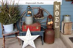 Junky, Rustic Winter Covered Patio Vignette www.organizedclutterqueen.blogspot.com #ChristmasJunkersUnited