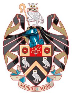 The Coat of Arms - The Manchester Grammar School Owl Banner, Owl Artwork, Grammar School, School Logo, Family Crest, Floral Border, Crests, Coat Of Arms, Middle Ages