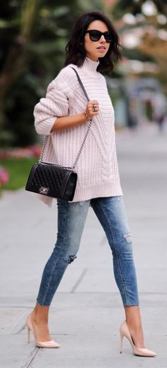 #preppy #fashion /  Pink Turtleneck Knit // Ripped Skinny Jeans // Black Leather Chanel Bag // Nude Pumps