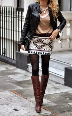 @Debbie Arruda Arruda Terrell What Kat needs to wear.... she'd rock it. Fall Outfit With Desert Mini Skirt