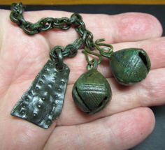 Ancient Bronze  Pendant 2 Bell likely to come from one of the local Baltic or Finno-Ugrian tribes.