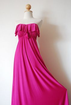 Gorgeous Pink Evening Frill Dress by pinksandcloset on Etsy, $55.00