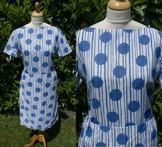 Vintage 1950's Summer Dress 12 14 Goodwood SAMBO Fashions Blue White Spot Stripe £50