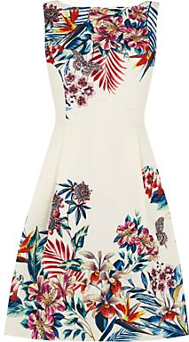 Oasis Tropical House Jacquard Dress, Off White