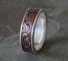 unique mens wedding bands | Unique Silver & Copper Men's Wedding Band – Price: $160