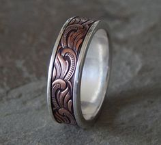 unique mens wedding bands | Unique Silver & Copper Men's Wedding Band – Price: $160