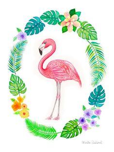 Flamingo art print tropical art decor nursery art by MartaDalloul(Diy Art Prints) Flamingo Rosa, Flamingo Party, Pink Flamingos, Art Tropical, Tropical Home Decor, Tropical Interior, Tropical Colors, Art Decor, Ideas Party