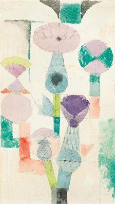 dappledwithshadow: Paul KleeBetrachtung der DistelblüteDimensions: 10.91 X 6.18 in (27.7 X 15.7 cm)Medium: Watercolour and pen on paper on cardboardCreation Date: 1918