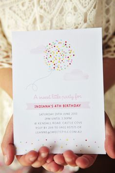Confetti birthday party invite by Sweet Style