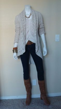 Daily Look:@CAbiClothing #Spring #Fashion: Front & Center Top w Circle Sweater & Bree Jean w suede Ugg clog boots.