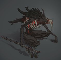 The caller of seeds. Dark Creatures, Fantasy Creatures, Mythical Creatures, Monster Concept Art, Monster Art, Creature Concept Art, Creature Design, Fantasy Kunst, Dark Fantasy Art