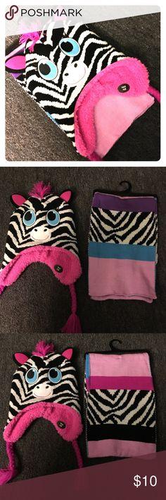Cute girls Zebra hat & scarf set 🎀Super Cute 🎀 Girls Zebra hat & scarf set ❄️☃️🦄 faux fur, comfy & warm. Accessories Scarves & Wraps