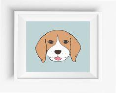 Beagle dog portrait ,Cute Dog Print,Puppy,Puppy watercolor,Pet Decor,digital Prints,instant Download,home decor,