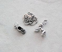 Charms, Baby: Cutie Pie, Crawling Baby, Baby Shoe Sterling Silver Charms (3) #Traditional