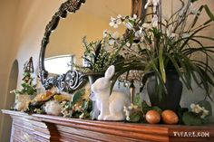 Thrifty Easter Mantel