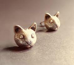 Silver Cat Earring, 925 Silver Cat Ear Studs,Unique Jewelry #handmade #design