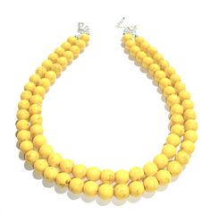 Multi strand necklace  yellow necklace  by BijouxDesignsStudio, $39.00