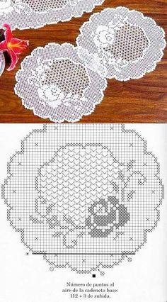 Hand made crochet table runner Crochet Table Runner Pattern, Free Crochet Doily Patterns, Crochet Doily Diagram, Filet Crochet Charts, Crochet Motifs, Thread Crochet, Crochet Designs, Crochet Stitches, Knitting Patterns