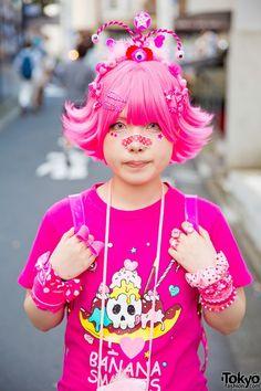 Harajuku Girl in Pink w/ Banana Fish, Care Bears Neclace & ACDC Rag Winged Backpack (Tokyo Fashion, 2015)