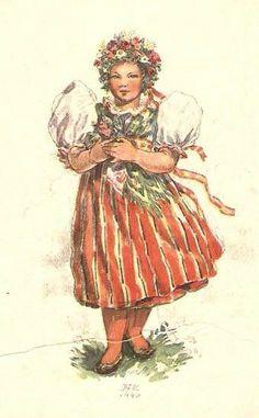 Marie Kvěchová-Fischerová Easter Pictures, Illustration Art, Vintage Illustrations, Beautiful Patterns, Czech Republic, Vintage Children, Vintage Art, German, Culture