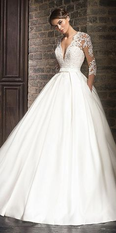 Marvelous Tulle & Satin V-Neck A-Line Wedding Dresses With Lace Appliques #weddingdress