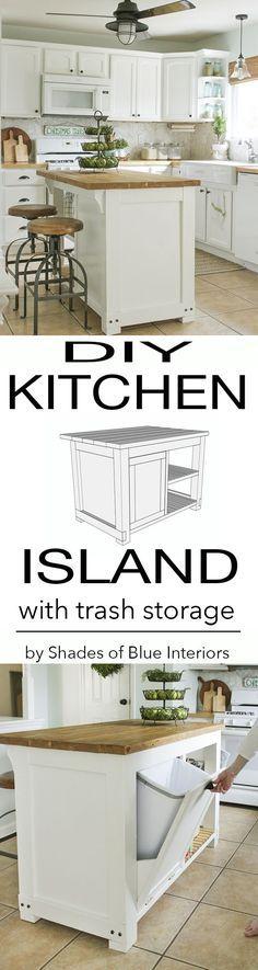 DIY Kitchen Island with Trash Storage - Shades of Blue Interiors - http://centophobe.com/diy-kitchen-island-with-trash-storage-shades-of-blue-interiors/ -