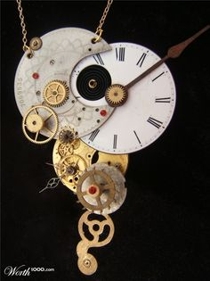 recycles watch/clock parts necklace. I'm not sure, but I think I like this.