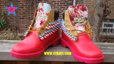 Custom Pink Painted Spiked Timberland w/ Light Blue Floral Print