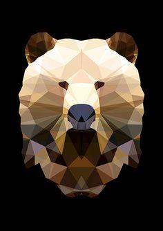 Tattoo - Idea - Geometric - Color - Bear - Animal - Polygon