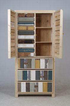 klassieke kast in sloophout van piet hein eek  2 deuren , 3 laden  100x48x215 cm  € 3.645,00