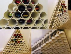 PVC pipe Hot Wheels parking garage. We used PVC pipe, PVC pipe cutter, & PCV glue. (duct tape for decoration) Cut the PVC into 4 inch lengths & glue into pyramid shape.