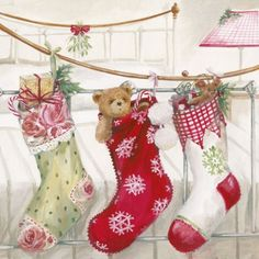 napkins / motives,  Toys - material-animals,  Christmas - Nikolausstiefel,  Christmas,  lunchnapkins,  boots by nicholas,  teddy bear,  gifts