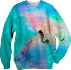 Dreamer of Dreams: Galaxy Wolf Howl Unisex Sweatshirt (Limited Edition) from Print All Over Me