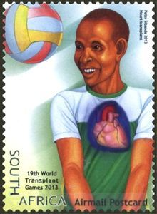 Stamp: Heart Transplant, Volleyball (South Africa) (World Transplant Games) Mi:ZA 2220 Volleyball, Baseball Cards, World, Postage Stamps, Heart, Volleyball Sayings, The World, Stamps