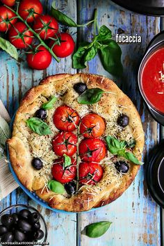 Dutch Oven Tomato and Olive Focaccia #recipe // Let it rise for approximately 1 or 2 hours