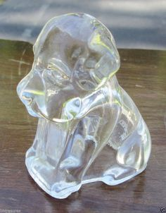 Vintage Clear Crystal Glass Mopey Dog Figurine Empty Candy Container Jar