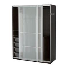PAX, Wardrobe, black-brown, Sekken frosted glass