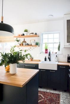 70 Good Staylish Black White Wood Kitchen Ideas More from my Good Staylish Black White Wood Kitchen IdeasInspiring White Farmhouse Style Kitchen Ideas To Maximize Kitchen Design 1218 Pretty White Kitchen. Home Decor Kitchen, Kitchen Interior, New Kitchen, Home Kitchens, Kitchen Dining, Kitchen Ideas, Kitchen Wood, Wood Counter Tops Kitchen, Wood Kitchen Countertops