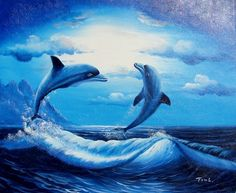 Dolphin Play - Hand Painted Oil on Canvas Buy Domain, Best Investments, Dolphins, Oil On Canvas, Whale, Auction, Hand Painted, Play, Oil Paintings