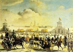 Roller Coasters on Neva River by N. Serrakapriola, 1817