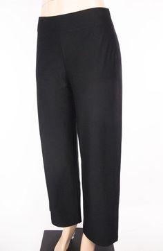 EILEEN FISHER Pants Size S Black Knit Wide Leg Wear To Work #EileenFisher #KnitPants