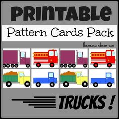 printable truck pattern cards for preschoolers. Printable pattern cards for preschool and kindergarten: Trucks! Preschool Classroom, Preschool Learning, Kindergarten Math, Early Learning, Teaching Math, Preschool Activities, Maths, Autism Classroom, Teaching Spanish