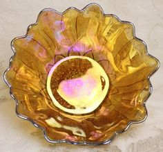 Indiana Iridescent Carnival Glass Amber Lily Pons Sunflower Bowl