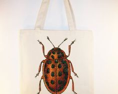 Cool Vintage Spotted Beetle illustration transferred onto Canvas Tote -- Selection of sizes available
