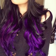 Wow, what a really cool color for dark hair!! #purplehair