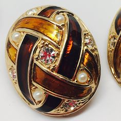 Vintage large oval clip on earrings with bands of tortoise shell decorated with pearls and rhinestones by YooHooCowboy on Etsy