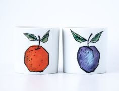 Mid Century Modern Japanese Illustration Jars / Fruit Jars / Office Storage