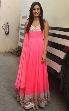Bruna Abdullah in Floor Length Pink Colour Anarkali Promoting JAI HO Movie 2014 Images