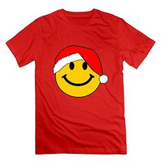Jahei Custom Santa Smiley Face For Christmas Tee For Youth Red X-Large