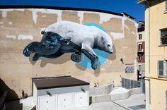 Polar Bear Mural in Turin